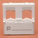 MASKOWNICA (ADAPTER) 45x45 dwugniazdowa z kurtynką i polem opisowym